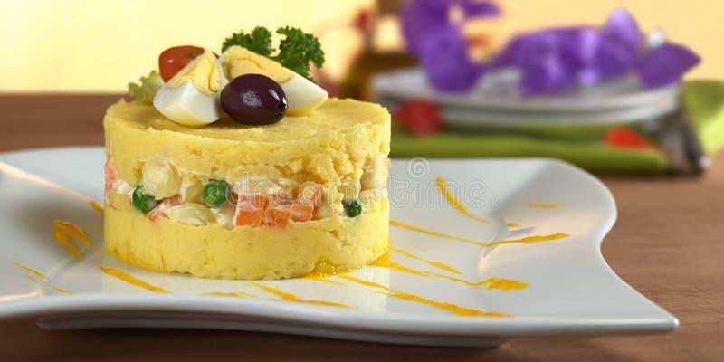 Peruviaans Voedsel Genoemd Causa royalty-vrije stock foto