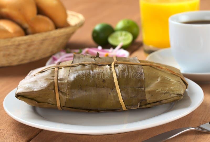Peruviaans Voedsel Genoemd Tamal stock afbeelding