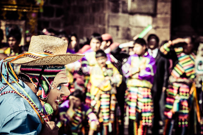 Peruviaanse dansers bij de parade in Cusco. stock fotografie
