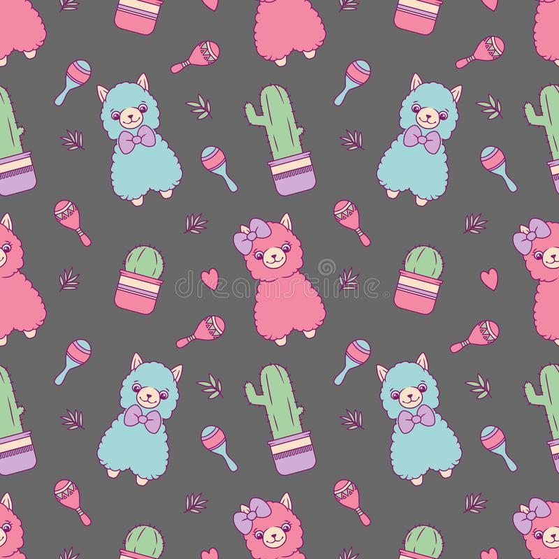 Alpaca or Lama with cactus and rumba shakers cute c cartoon style seamless pattern on dark gray background royalty free illustration