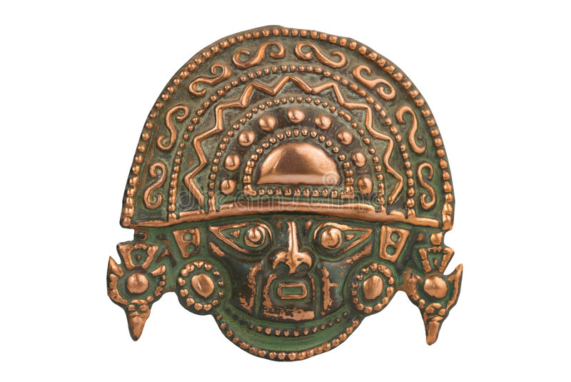Peruvian ancient ceremonial mask. Isolated on white background royalty free stock images