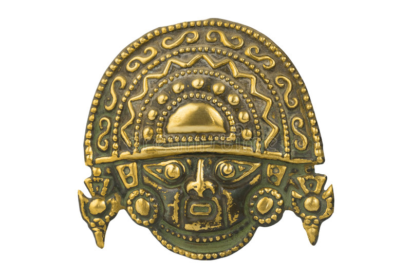 Peruvian ancient ceremonial mask isolated on white royalty free stock image
