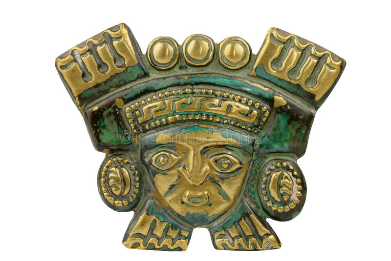 Peruvian ancient ceremonial mask isolated on white. Background royalty free stock photos
