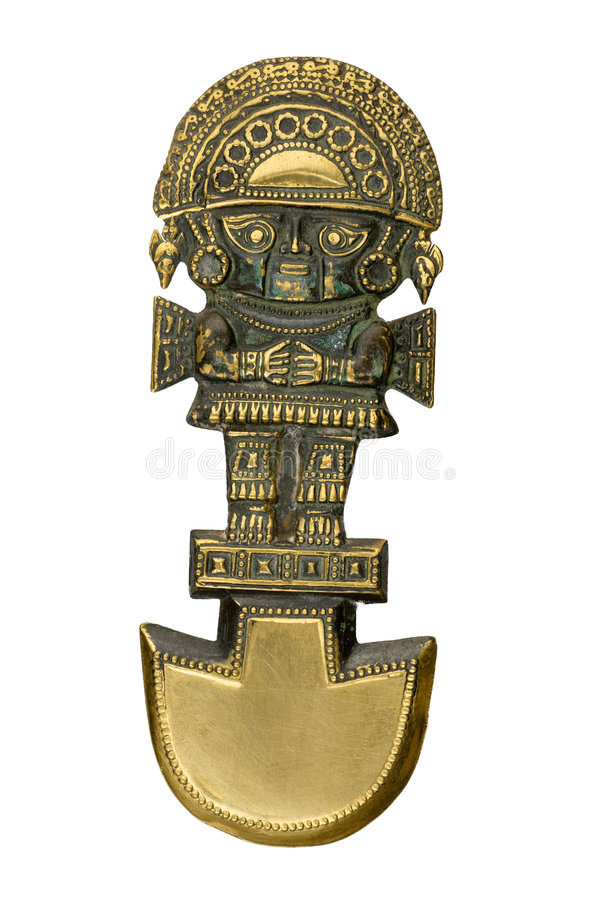 Peruvian ancient ceremonial mask isolated on white. Background royalty free stock photography