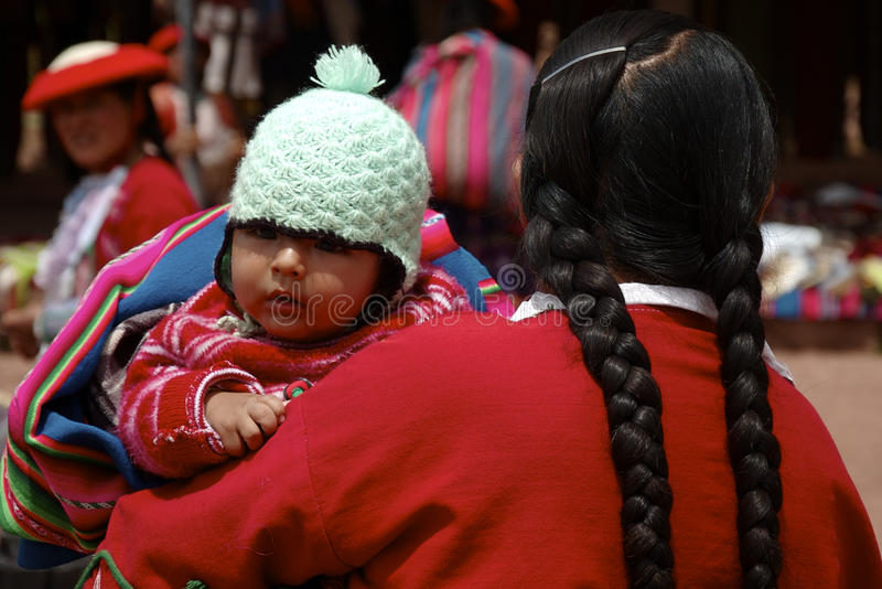 Peruvian Baby with Mother stock photo