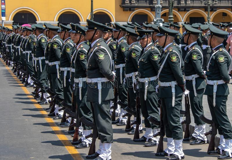 Peruvian Cadet Soldiers royalty free stock photography