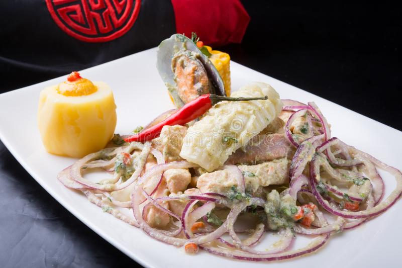 Peruvian ceviche dish stock images