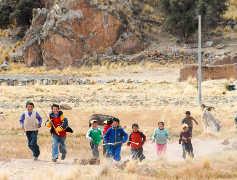 Peruvian Children Running, Peru royalty free stock images