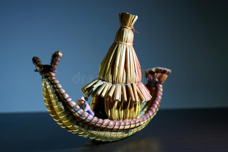 Peruvian crafts in the shape of a typical totora boat from Lake Titicaca royalty free stock photography