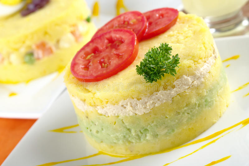 Peruvian Dish Called Causa stock image
