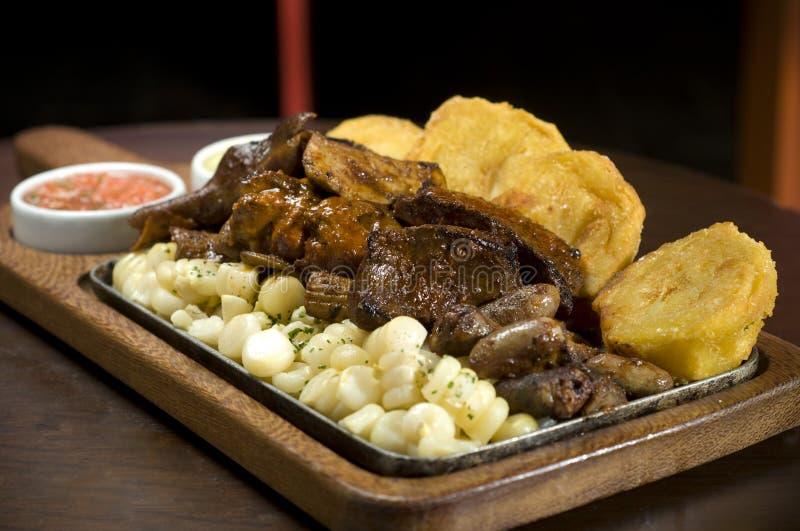 Peruvian dish. Pancita y chunchuli, typical Peruvian plate stock images