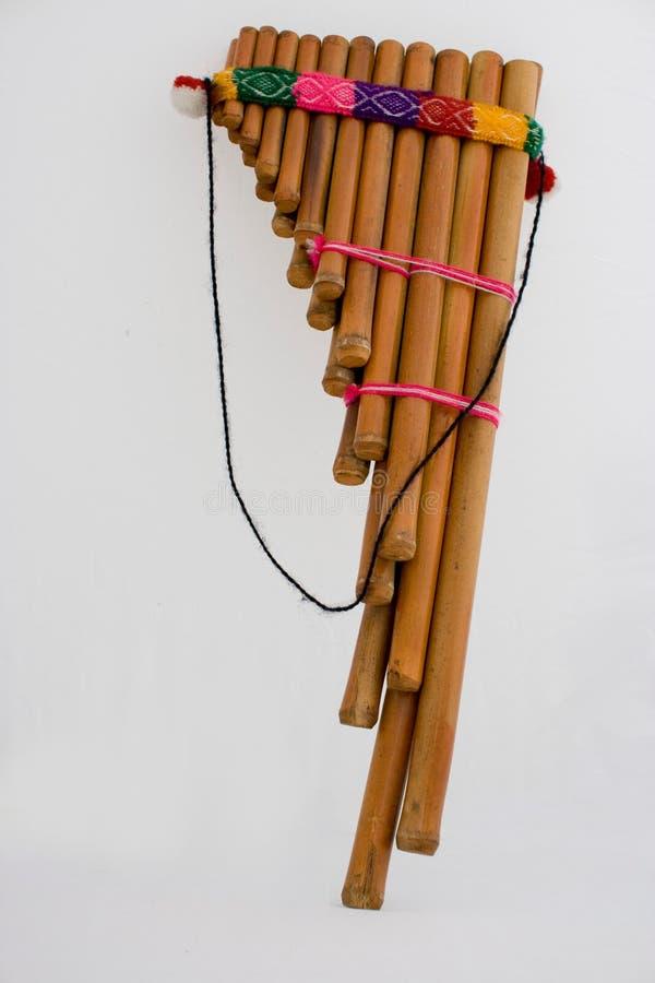 Peruvian flute. Detail studio photo of a peruvian flute stock photo