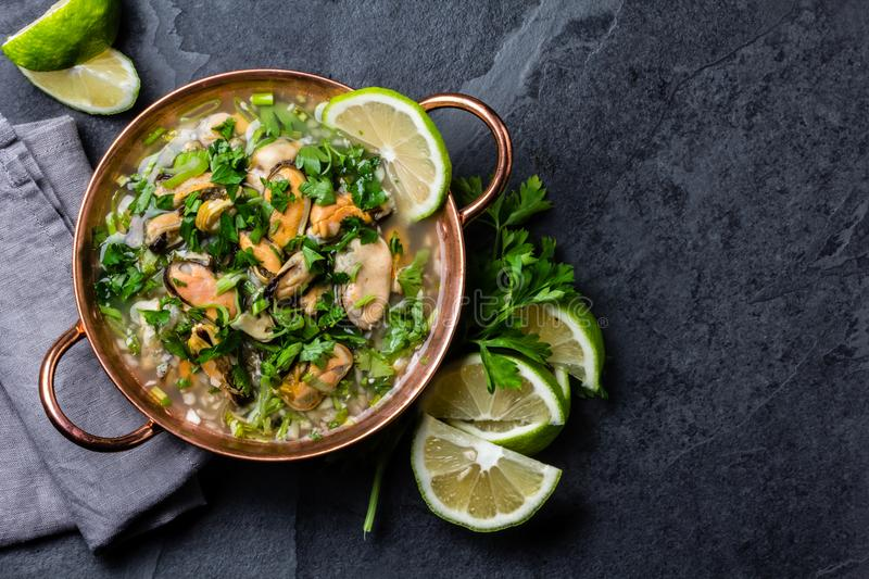 Peruvian food. Mussels ceviche. Cold soup with seafood, lemon and onion. In cooper bowl. Slate background royalty free stock photography