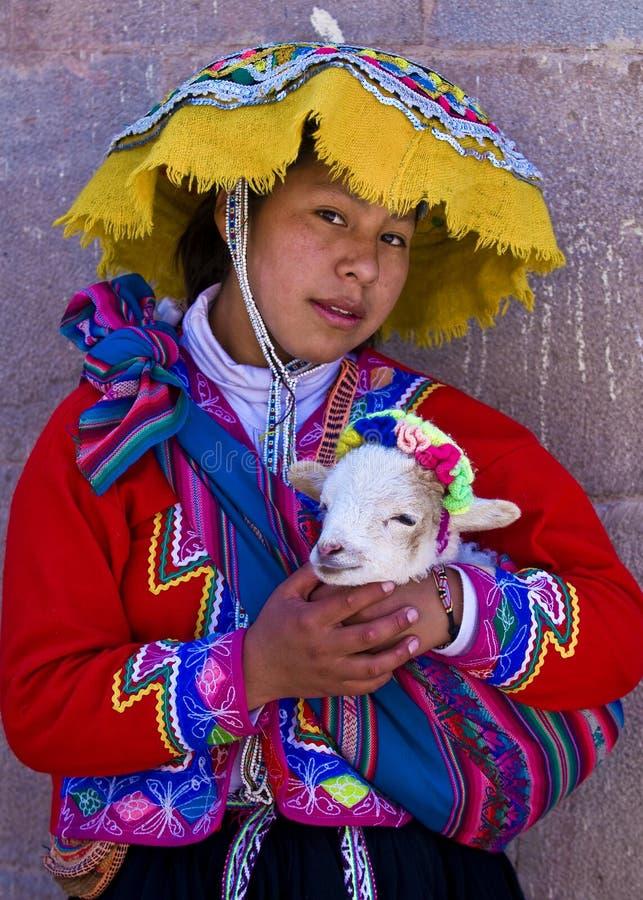 Peruvian girl stock photo