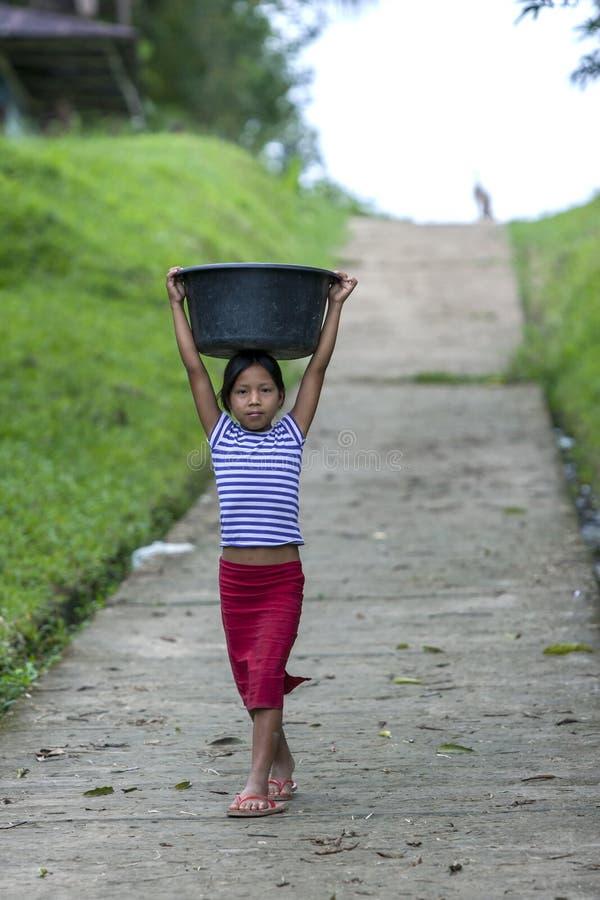 A Peruvian girl at Indiana in Peru. stock photography