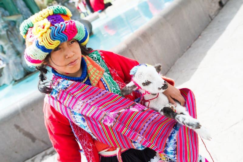 Peruvian girl with lamb stock images
