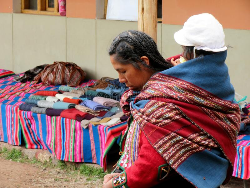 Peruvian mother and child royalty free stock images
