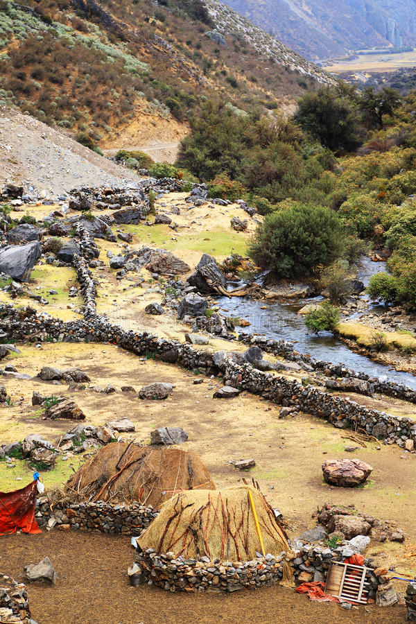 Peruvian mountain village stock photo