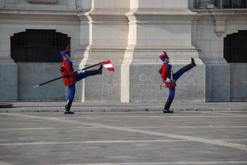 Peruvian palace guards. In Lima, Peru stock image