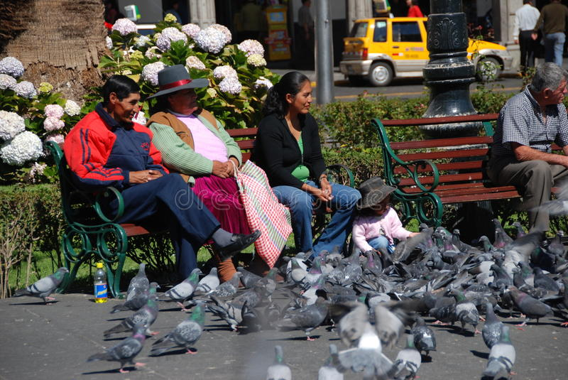 Peruvian people in the plaza royalty free stock photography