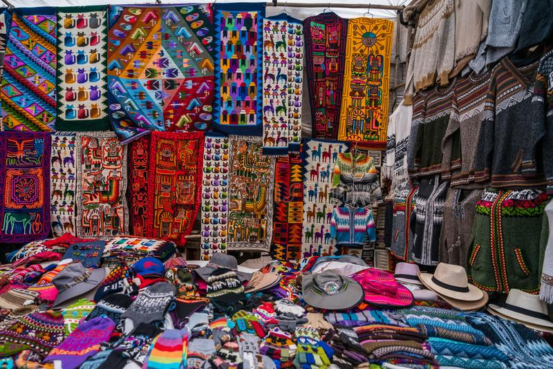 Peruvian shop with handmade hats and scarfs stock photo