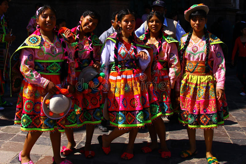 Peruvian teenage girls in Traditional Clothing royalty free stock images