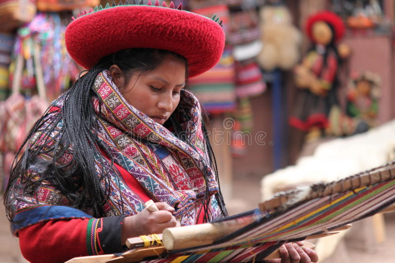 peruvian tkactwa kobieta obraz royalty free