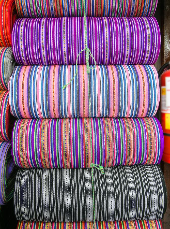 Peruvian traditional colourful native handicraft textile fabric at market, Peru royalty free stock image
