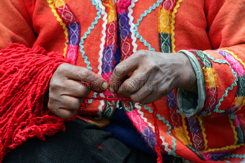 Peruvian Yarn Spinner royalty free stock images