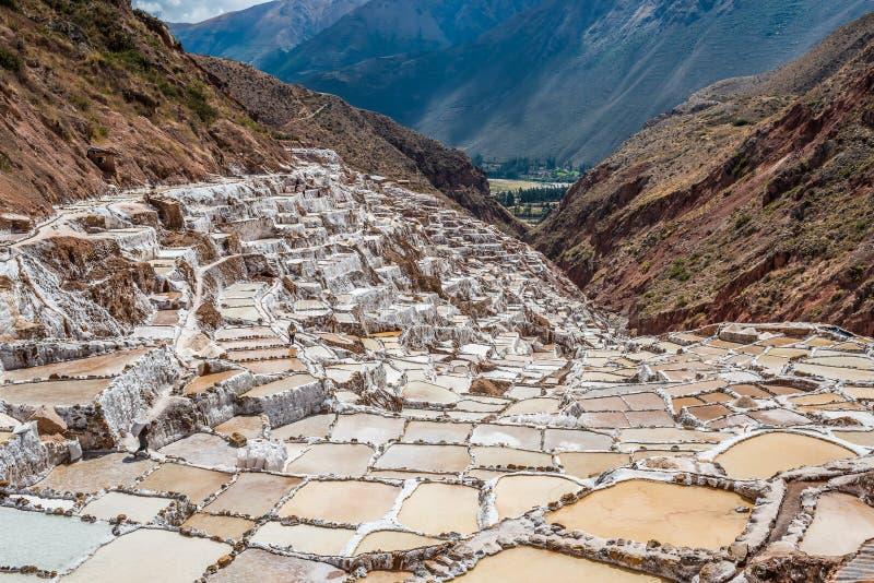 Peruviano le Ande Cuzco Perù delle miniere di sale di Maras immagini stock libere da diritti