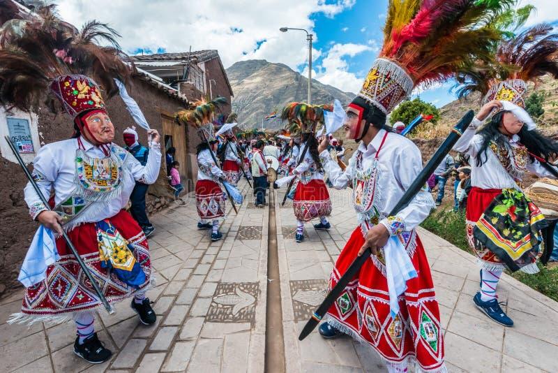 Peruviano le Ande Pisac di parata di Virgen del Carmen per immagine stock libera da diritti