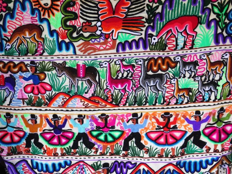 Peruwiańska Ręcznie Robiony Woolen tkanina zdjęcie royalty free