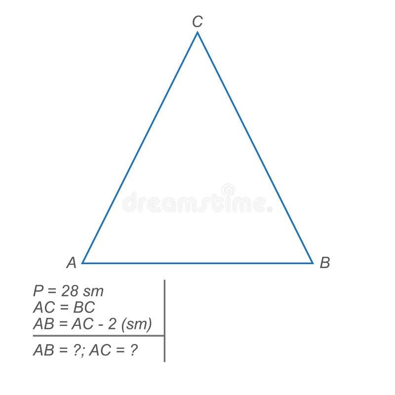 Perymetr równoramienny trójbok jest równy dwadzieścia centymetrów centymetrów ilustracja wektor