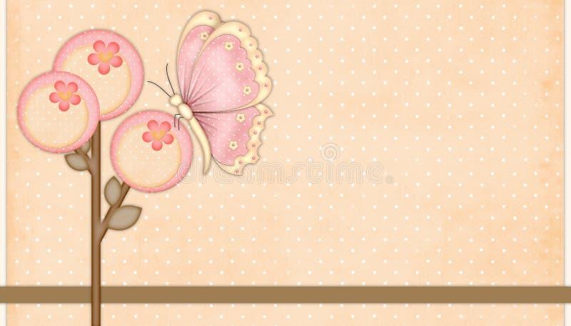 Perzik & Roze Bloemen met Vlinder royalty-vrije illustratie