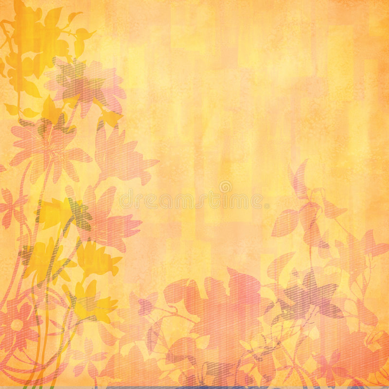 Perzik gesilhouetteerde bloemen vector illustratie