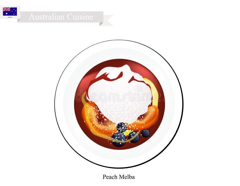 Perzik Melba Ice Cream, een Beroemd Australisch Dessert royalty-vrije illustratie