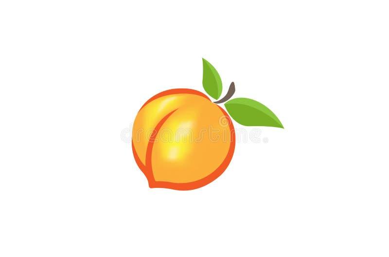 Perzik Oranje Embleem royalty-vrije illustratie