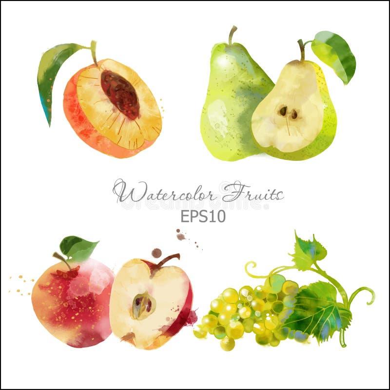 Perzik, peer, appel, druif royalty-vrije stock foto