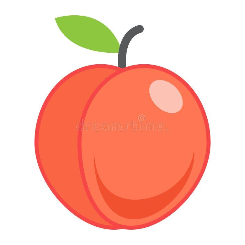 Perzik vlak pictogram, fruit en dieet, grafische vector royalty-vrije illustratie