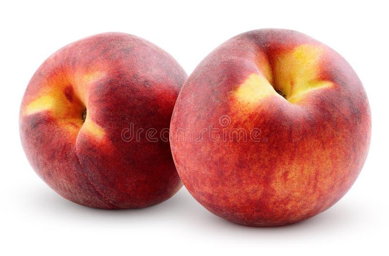 Perziken die op wit worden geïsoleerdu stock foto's