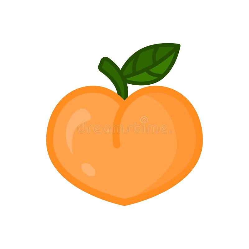 Perzikpictogram Perzikfruit op tak met blad Geïsoleerdee vector royalty-vrije illustratie