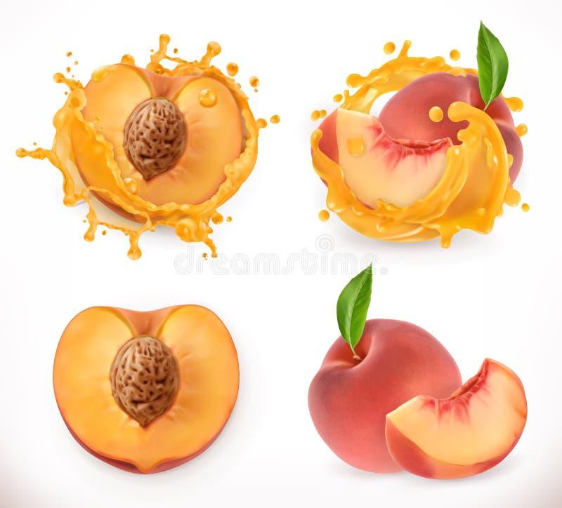Perziksap Vers fruit, vectorpictogram vector illustratie