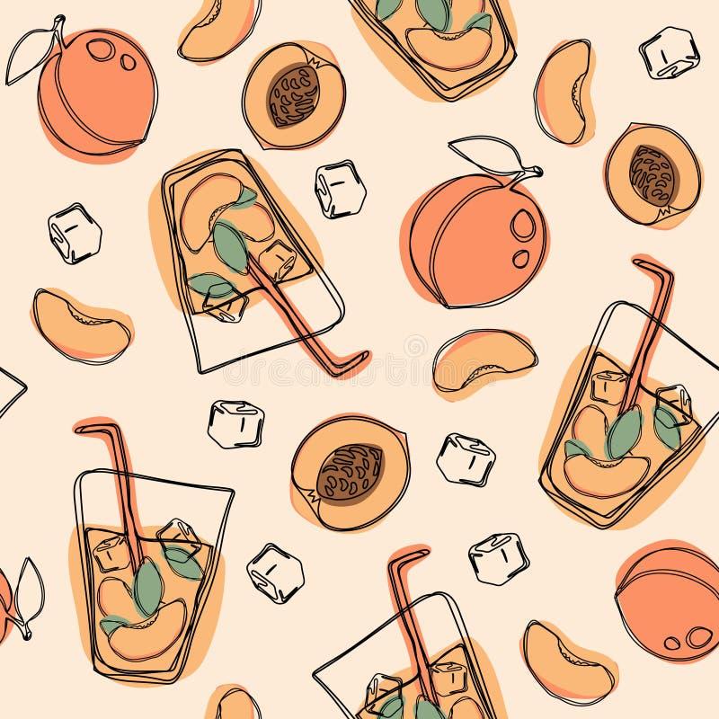 Perzikthee of cocktail naadloos patroon Vectorhand getrokken illustratie op geïsoleerde witte achtergrond stock illustratie