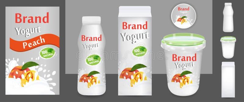Perzikyoghurt verpakkingsontwerp of advertenties Malplaatje diverse pakketten voor 3d illustratie van yoghurtproducten Toepasseli stock illustratie