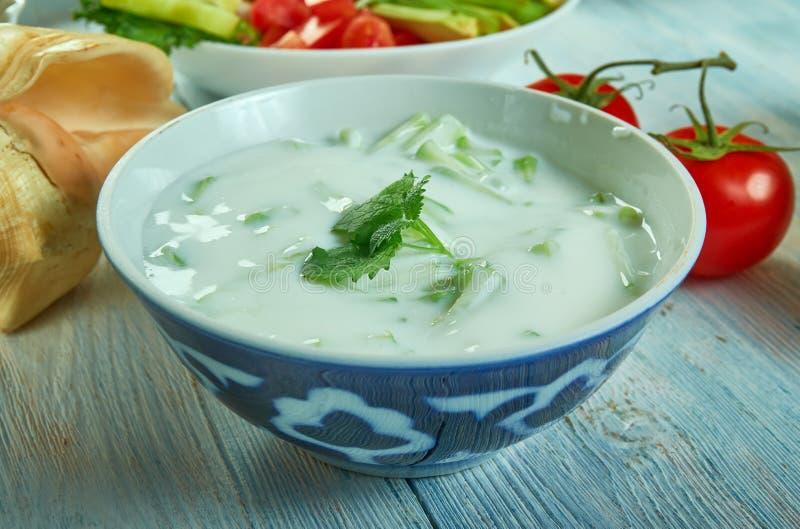 Perzische komkommer en yoghurtonderdompeling stock afbeelding