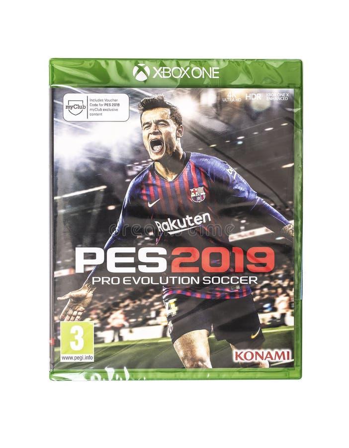 PES Pro Evolution Soccer 2019 gra dla xbox one na białym tle obraz royalty free