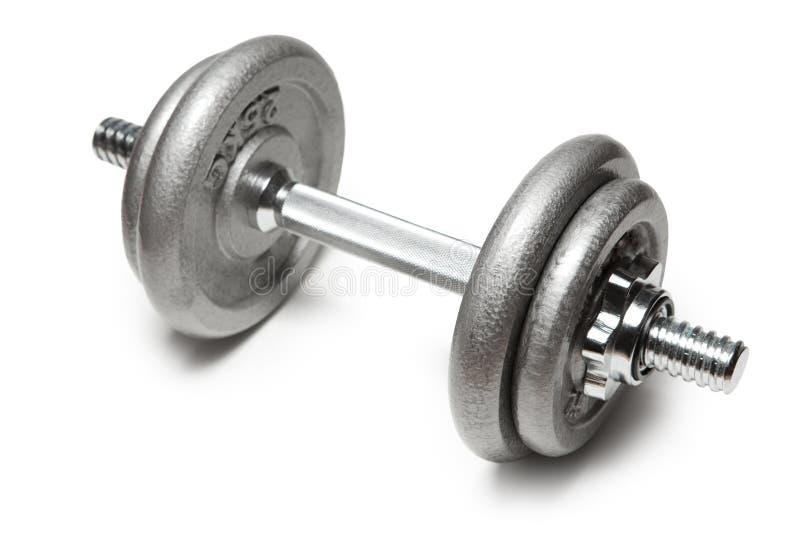 Pesa de gimnasia del metal para la aptitud con la manija de la plata del cromo aislada en blanco imágenes de archivo libres de regalías