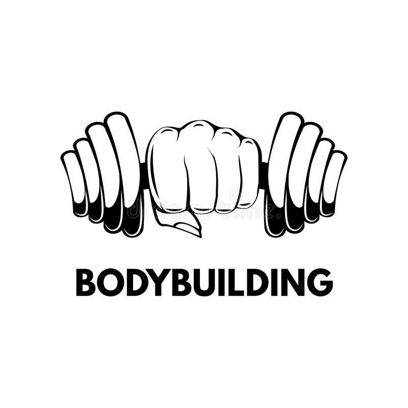 Pesa de gimnasia a disposición bodybuilding deletreado Gimnasio, etiqueta de la aptitud Ilustración del vector stock de ilustración