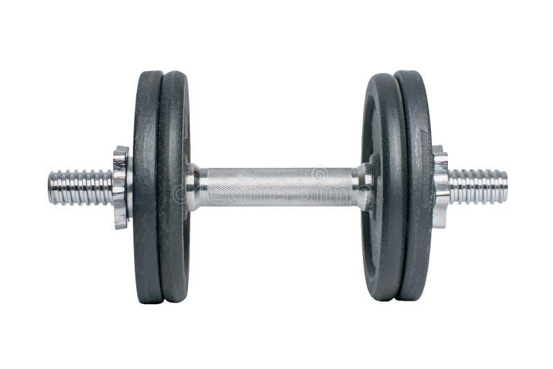 pesa de gimnasia negra del metal para la aptitud con la manija de la plata del cromo aislada en el fondo blanco imágenes de archivo libres de regalías