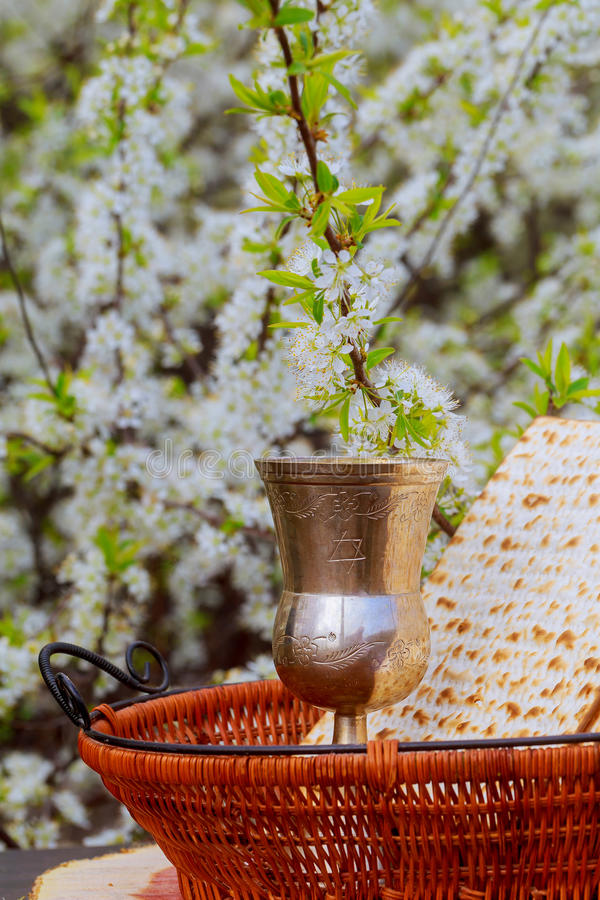 Pesach życie z wina i matzoh passover żydowskim chlebem obraz royalty free